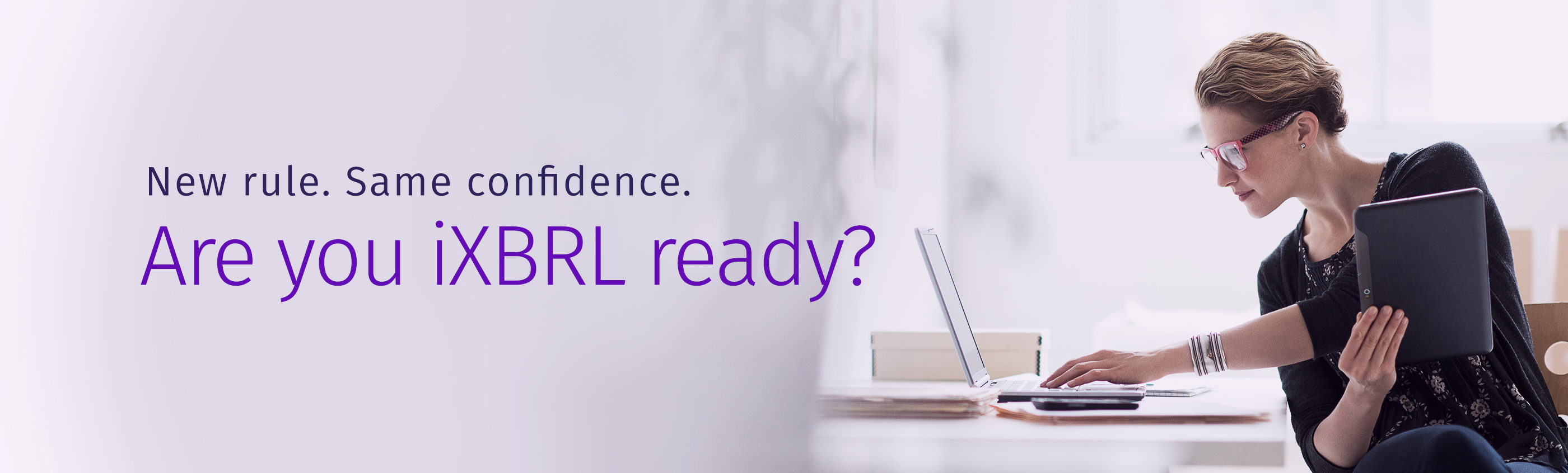 Woman testing her knowledge, taking the iXBRL quizzes.